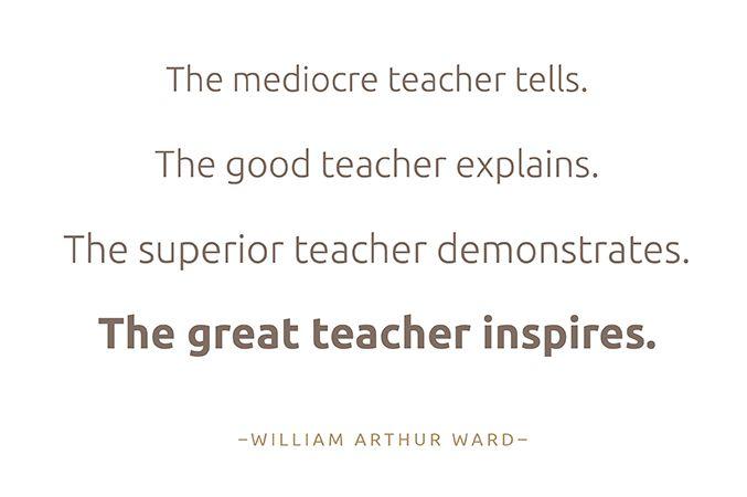 """""""El profesor mediocre dice. El buen profesor explica. El maestro excelente demuestra. El gran maestro inspira """". - William Arthur Ward,"""